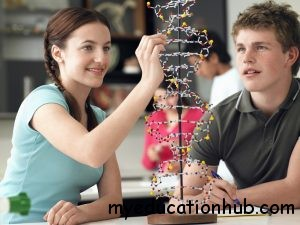 Teenagers Observing a DNA Model